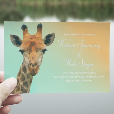 Wedding Invitation with Low Poly Giraffe, 2015