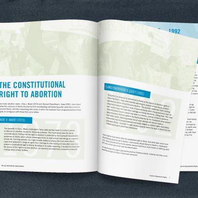 Mockup of the introductory spread emphasizing the weight and strength of the central Supreme Court cases on abortion rights.