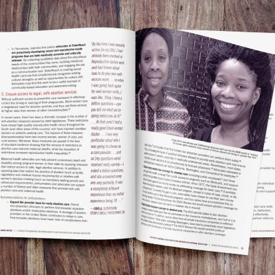 Mockup of Black Mamas Matter Alliance toolkit spread with a photo of members of the alliance.