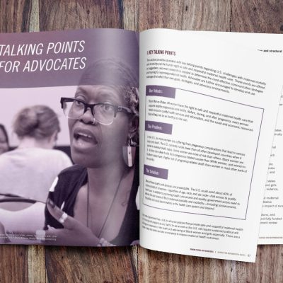 Mockup of Black Mamas Matter Alliance toolkit highlighting a section opener for a key piece of the toolkit.