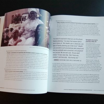 Photo of a dynamic spread with a photo and quote from the Black Mamas Matter Alliance toolkit.