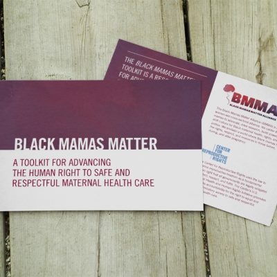 Mockup of a postcard printed to promote the update of the Black Mamas Matter Alliance toolkit.