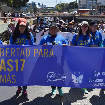 Photo Credit: Center for Reproductive Rights Photo from International Women's Day march in El Salvador in March of 2018. Here, they are wearing shirts and carrying a banner designed for the event.
