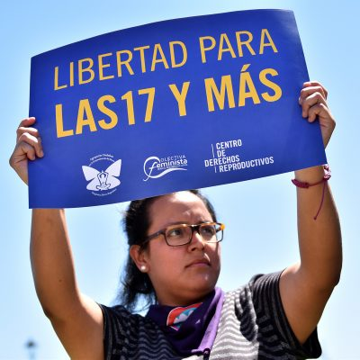 Photo Credit: Center for Reproductive Rights Photo from International Women's Day march in El Salvador in March of 2018. Here, someone holds up a sign designed for the event.
