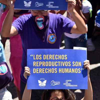 Photo Credit: Center for Reproductive Rights Photo from International Women's Day march in El Salvador in March of 2018. Here, they are carrying signs designed for the event.