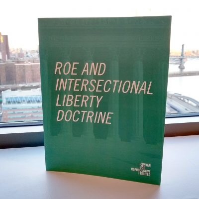 Photo of the cover of the final publication in the Center for Reproductive Rights offices.