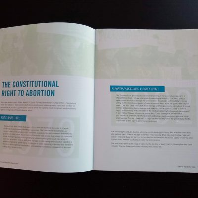 Photo of the introductory spread emphasizing the weight and strength of the central Supreme Court cases on abortion rights.
