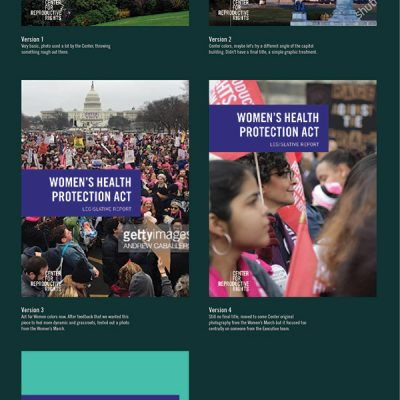 Process for the design of the cover for the Women's Health Protection Act report. For a closer look, open the image in a new tab.