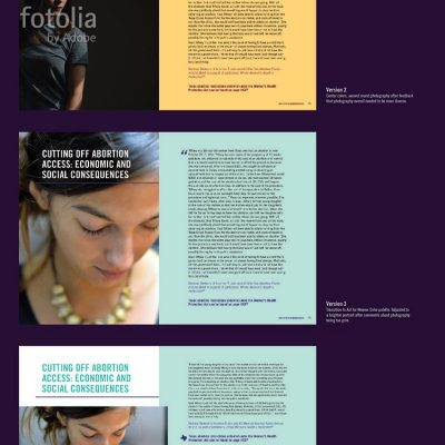 Process for the design of one of the trickiest story spreads for the Women's Health Protection Act report. For a closer look, open the image in a new tab.