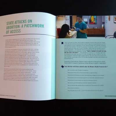 Photo of a story spread from the Women's Health Protection Act report.